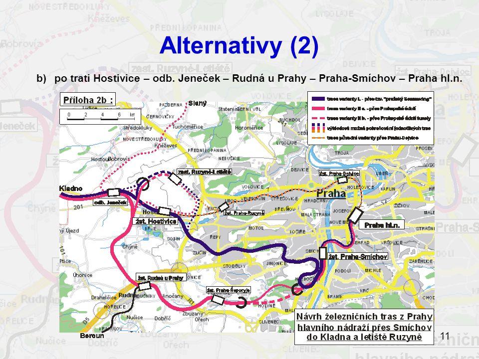 11 Alternativy (2) b)po trati Hostivice – odb.