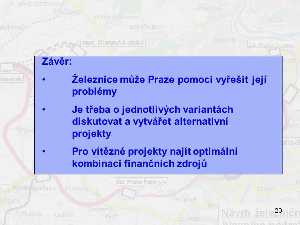 20 Závěr: Železnice může Praze pomoci vyřešit její problémy Je třeba o jednotlivých variantách diskutovat a vytvářet alternativní projekty Pro vítězné projekty najít optimální kombinaci finančních zdrojů