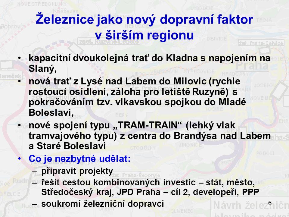 6 Železnice jako nový dopravní faktor v širším regionu kapacitní dvoukolejná trať do Kladna s napojením na Slaný, nová trať z Lysé nad Labem do Milovic (rychle rostoucí osídlení, záloha pro letiště Ruzyně) s pokračováním tzv.