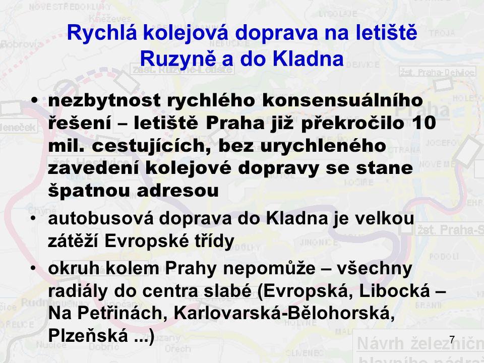 7 Rychlá kolejová doprava na letiště Ruzyně a do Kladna nezbytnost rychlého konsensuálního řešení – letiště Praha již překročilo 10 mil.