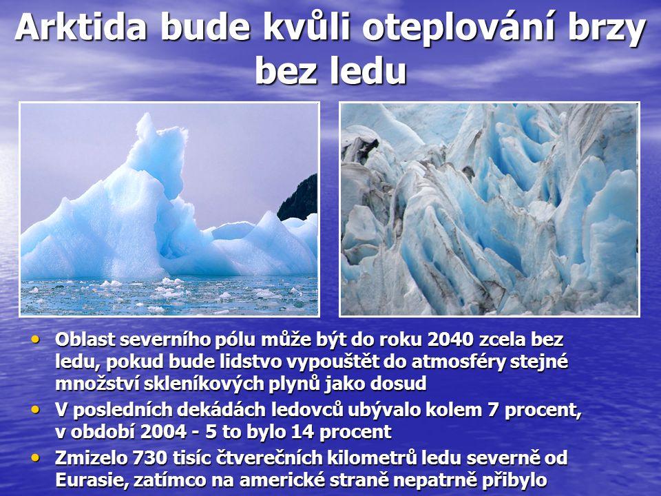 Arktida bude kvůli oteplování brzy bez ledu Oblast severního pólu může být do roku 2040 zcela bez ledu, pokud bude lidstvo vypouštět do atmosféry stejné množství skleníkových plynů jako dosud Oblast severního pólu může být do roku 2040 zcela bez ledu, pokud bude lidstvo vypouštět do atmosféry stejné množství skleníkových plynů jako dosud V posledních dekádách ledovců ubývalo kolem 7 procent, v období 2004 - 5 to bylo 14 procent V posledních dekádách ledovců ubývalo kolem 7 procent, v období 2004 - 5 to bylo 14 procent Zmizelo 730 tisíc čtverečních kilometrů ledu severně od Eurasie, zatímco na americké straně nepatrně přibylo Zmizelo 730 tisíc čtverečních kilometrů ledu severně od Eurasie, zatímco na americké straně nepatrně přibylo