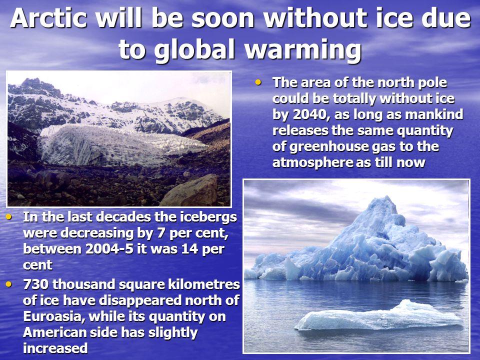 Proces tání se zrychluje Stále větší, relativně tmavé plochy mořské vody, odkrývané ustupujícím bílým ledovcem, silněji přijímají teplo slunečních paprsků, víc zahřívají okolní vodní plochy a tedy zrychlují tání dalších ledních ker Stále větší, relativně tmavé plochy mořské vody, odkrývané ustupujícím bílým ledovcem, silněji přijímají teplo slunečních paprsků, víc zahřívají okolní vodní plochy a tedy zrychlují tání dalších ledních ker Arktické ledy mohou zcela zmizet do roku 2050 Od roku 1979 ubývá z této ledové masy devět procent ledu za jednu dekádu, tedy téměř jedno procento za rok Od roku 1979 ubývá z této ledové masy devět procent ledu za jednu dekádu, tedy téměř jedno procento za rok