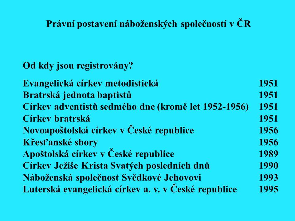 Od kdy jsou registrovány? Evangelická církev metodistická1951 Bratrská jednota baptistů1951 Církev adventistů sedmého dne (kromě let 1952-1956) 1951 C