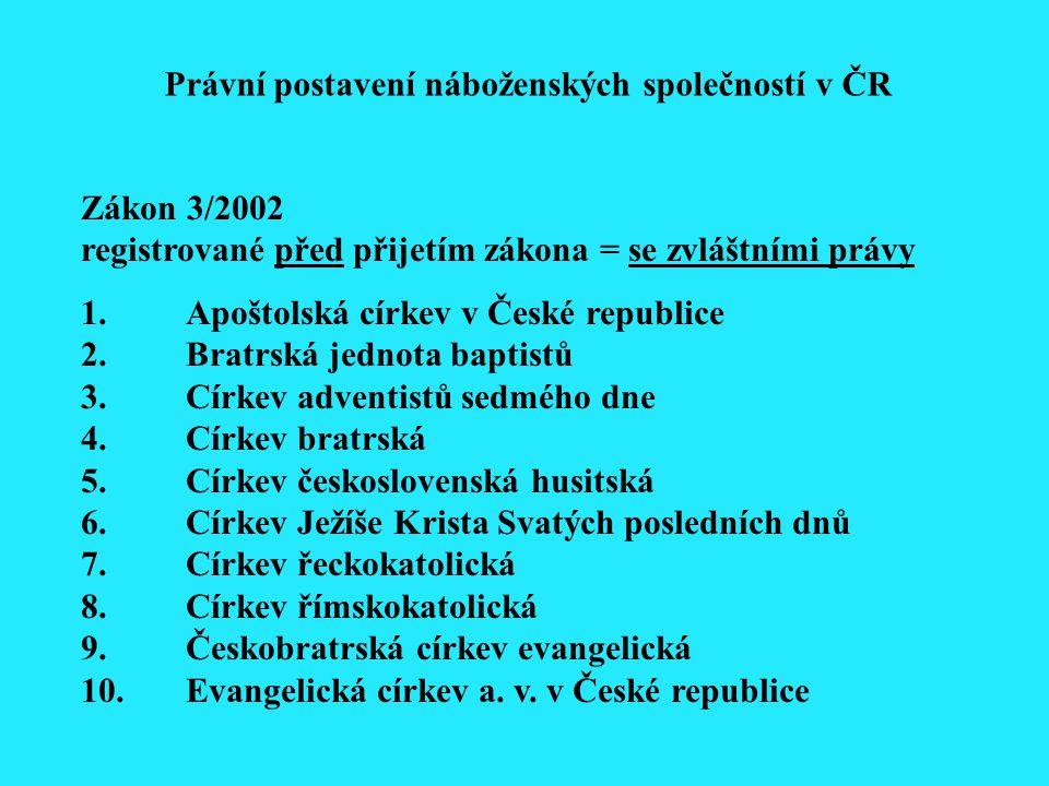 Zákon 3/2002 registrované před přijetím zákona = se zvláštními právy 1.Apoštolská církev v České republice 2. Bratrská jednota baptistů 3.Církev adven