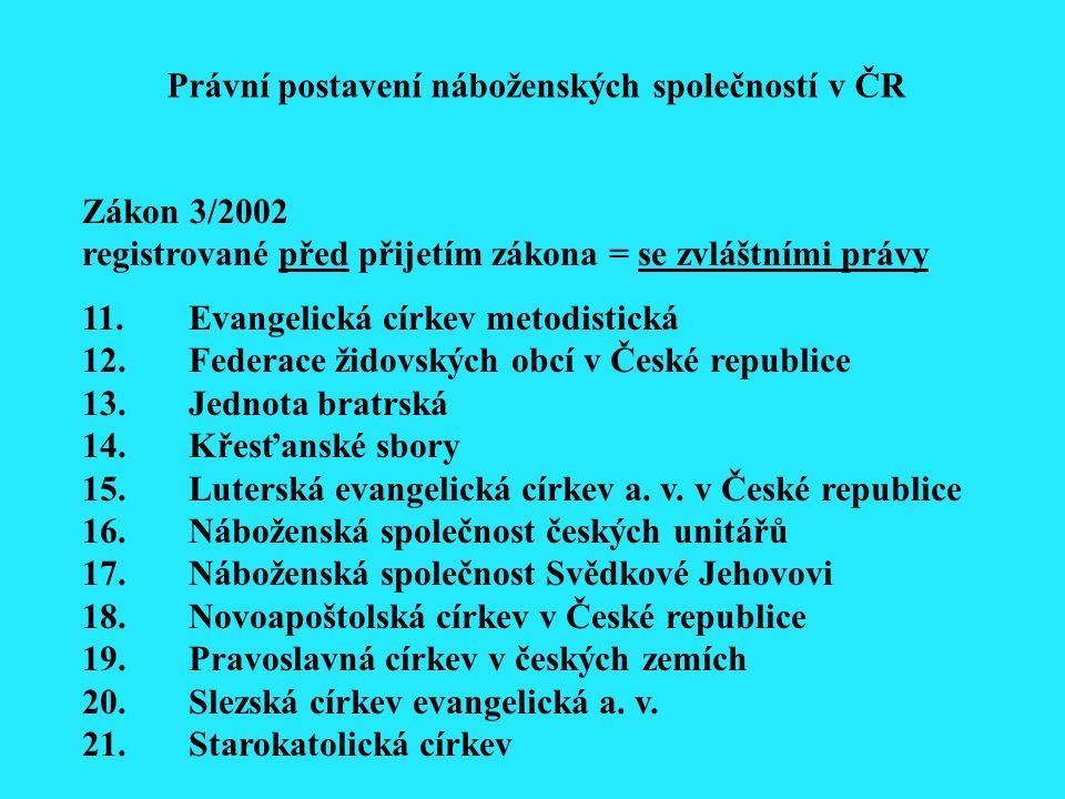 Zákon 3/2002 registrované před přijetím zákona = se zvláštními právy 11.Evangelická církev metodistická 12.Federace židovských obcí v České republice 13.Jednota bratrská 14.Křesťanské sbory 15.Luterská evangelická církev a.