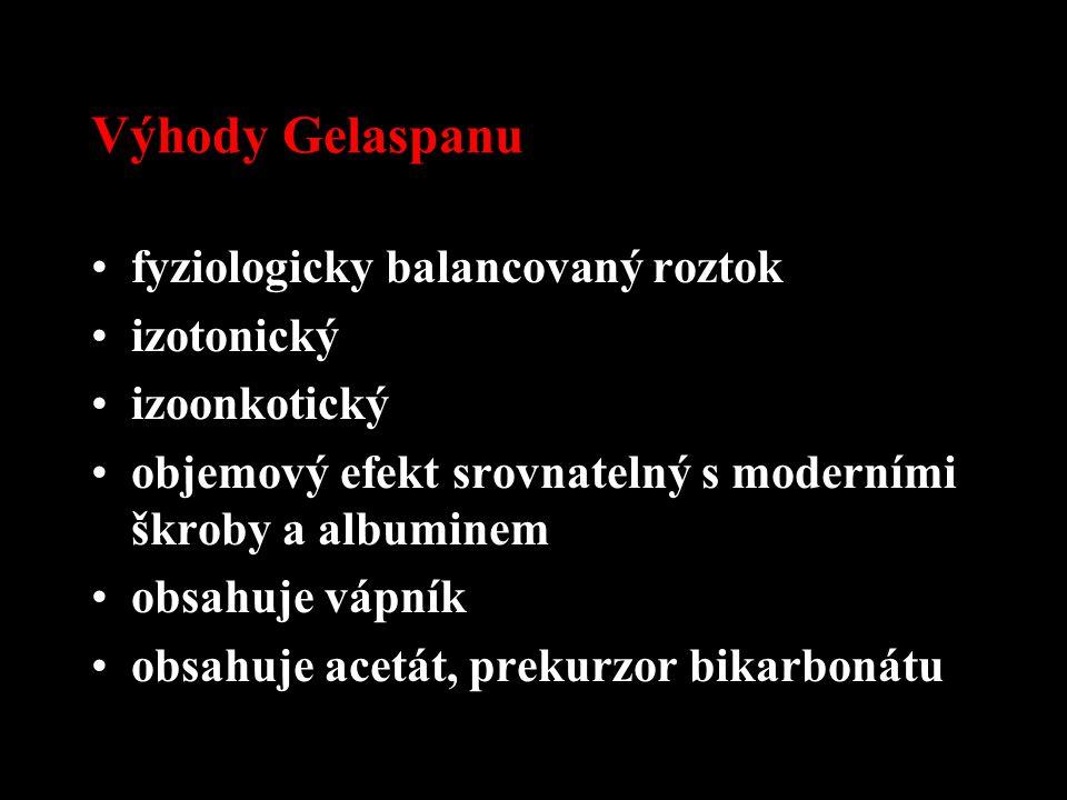 Výhody Gelaspanu fyziologicky balancovaný roztok izotonický izoonkotický objemový efekt srovnatelný s moderními škroby a albuminem obsahuje vápník obs