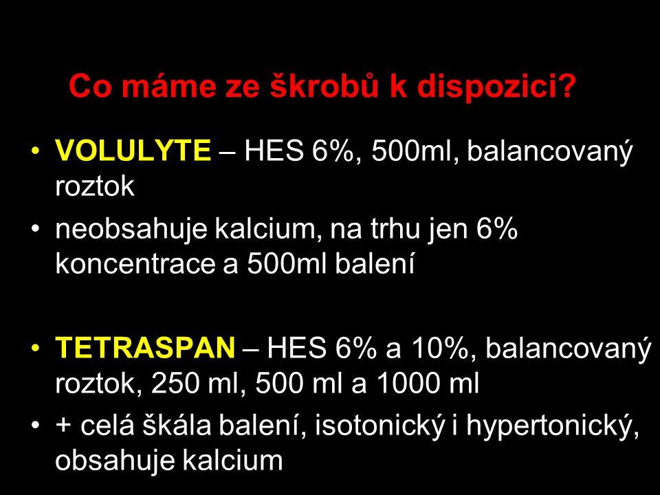 Co máme ze škrobů k dispozici? VOLULYTE – HES 6%, 500ml, balancovaný roztok neobsahuje kalcium, na trhu jen 6% koncentrace a 500ml balení TETRASPAN –