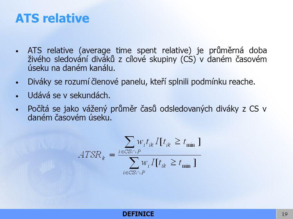 19 ATS relative ATS relative (average time spent relative) je průměrná doba živého sledování diváků z cílové skupiny (CS) v daném časovém úseku na dan