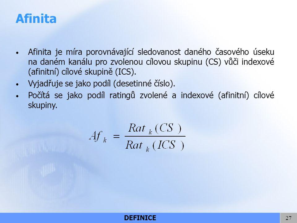 27 Afinita Afinita je míra porovnávající sledovanost daného časového úseku na daném kanálu pro zvolenou cílovou skupinu (CS) vůči indexové (afinitní)