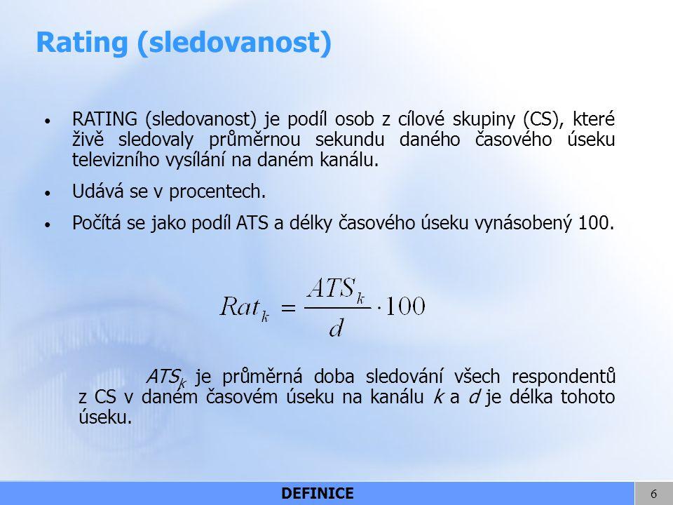 6 Rating (sledovanost) RATING (sledovanost) je podíl osob z cílové skupiny (CS), které živě sledovaly průměrnou sekundu daného časového úseku televizn