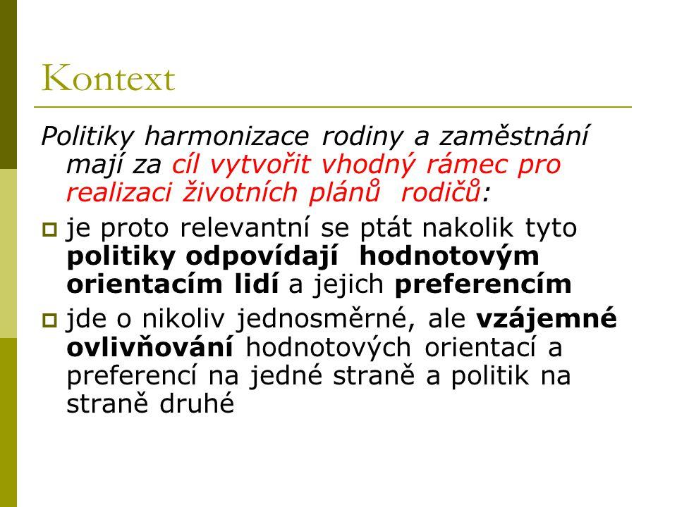 Otázky - 1 nakolik se v České republice diferencují (diferenciace životních stylů) hodnotové orientace, preference a reálné strategie harmonizace rodiny a zaměstnání .