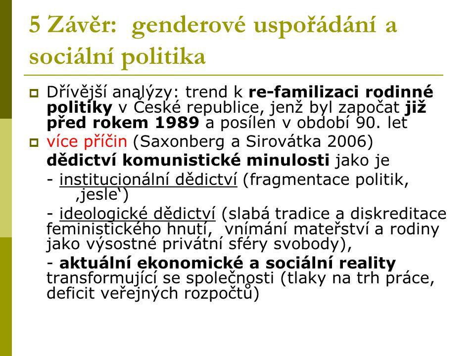 5 Závěr: genderové uspořádání a sociální politika  Dřívější analýzy: trend k re-familizaci rodinné politiky v České republice, jenž byl započat již p