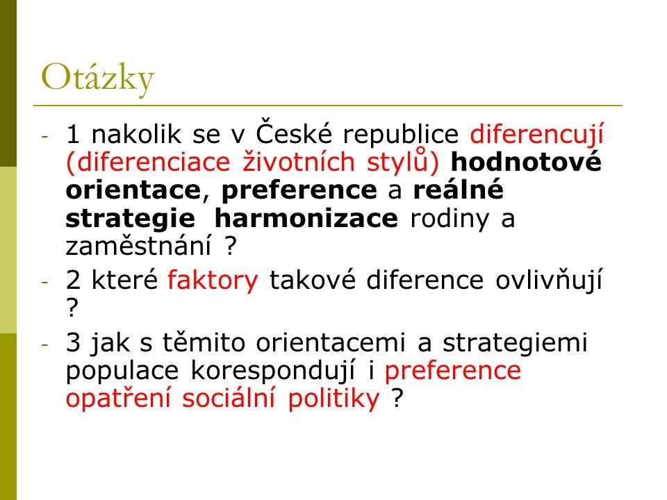 Otázky - 1 nakolik se v České republice diferencují (diferenciace životních stylů) hodnotové orientace, preference a reálné strategie harmonizace rodi