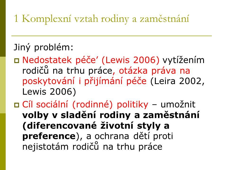 1 Komplexní vztah rodiny a zaměstnání Jiný problém:  Nedostatek péče' (Lewis 2006) vytížením rodičů na trhu práce, otázka práva na poskytování i přij