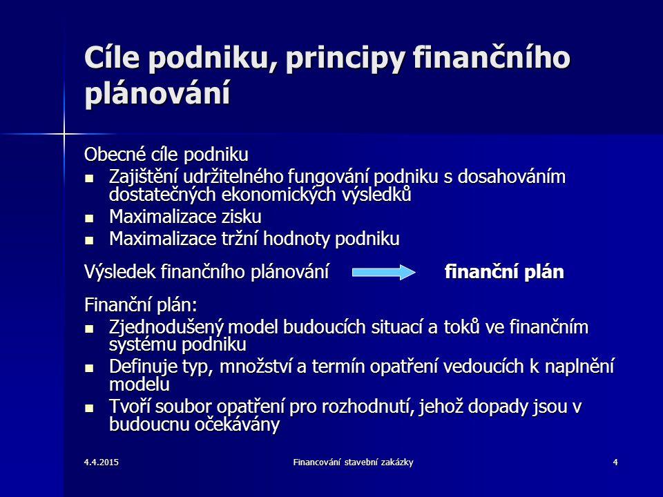4.4.2015Financování stavební zakázky5 Struktura a forma finančního plánu Finanční plán je tvořen pro dlouhodobý horizont (opatření definované ve finančním plánu přináší výsledku v průběhu 3 – let) Finanční plán je tvořen pro dlouhodobý horizont (opatření definované ve finančním plánu přináší výsledku v průběhu 3 – let) Část dlouhodobého finančního plánu je tvořena podrobným ročním finančním plánem Část dlouhodobého finančního plánu je tvořena podrobným ročním finančním plánem Struktura finančního plánu odpovídá struktuře a formě finančních (účetních) výkazů (rozvaha, výsledovka, výkaz peněžních toků) Struktura finančního plánu odpovídá struktuře a formě finančních (účetních) výkazů (rozvaha, výsledovka, výkaz peněžních toků) Finanční plán ve formě ročních účetních výkazů je posouzena nástroji finanční analýzy Finanční plán ve formě ročních účetních výkazů je posouzena nástroji finanční analýzy Finanční plán je doplněn třemi plánovacími dokumenty: Finanční plán je doplněn třemi plánovacími dokumenty: –Predikce stavebních zakázek –Rozpočet investičních nákladů (výdajů) –Rozpočet externího financování