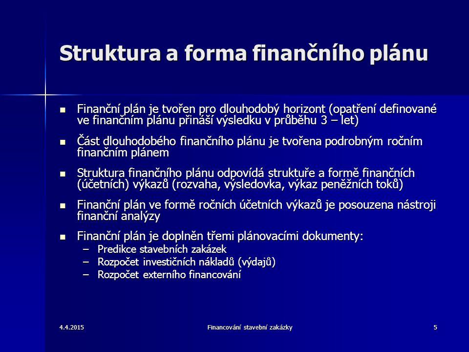 4.4.2015Financování stavební zakázky6 Dlouhodobé finanční plánování Hlavní cíl dlouhodobého finančního plánování je tvorba zisku Hlavní cíl dlouhodobého finančního plánování je tvorba zisku Tvorba zisku je z dlouhodobého pohledu determinována: Tvorba zisku je z dlouhodobého pohledu determinována: –Realizací dlouhodobých opatření v investiční a technické oblasti Finanční plánování musí být založeno na finanční analýze předchozích období při respektování: Finanční plánování musí být založeno na finanční analýze předchozích období při respektování: –Externích podmínek (vývoj poptávky, cen, úrokových sazeb, daňových sazeb) –Interních vlivů (analýza rozdílů mezi plánem a skutečností, vývoj finančních ukazatelů v posledních letech) Hlavní kriterium pro plánování je plán výnosů Hlavní kriterium pro plánování je plán výnosů