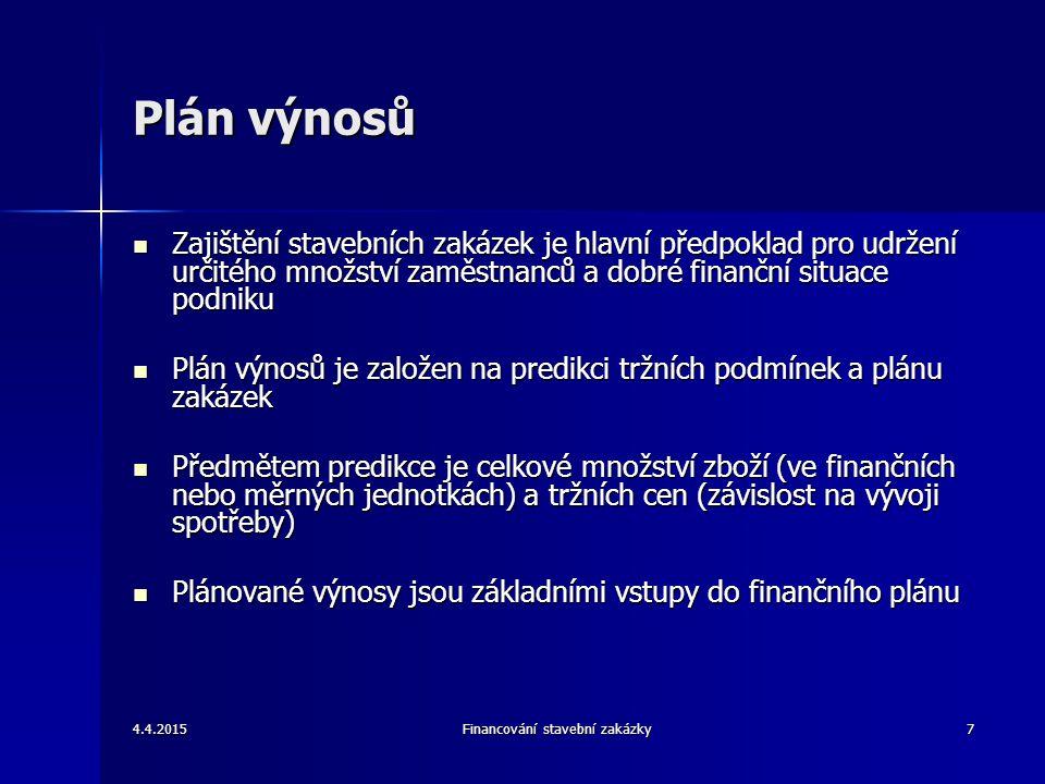 4.4.2015Financování stavební zakázky7 Plán výnosů Zajištění stavebních zakázek je hlavní předpoklad pro udržení určitého množství zaměstnanců a dobré