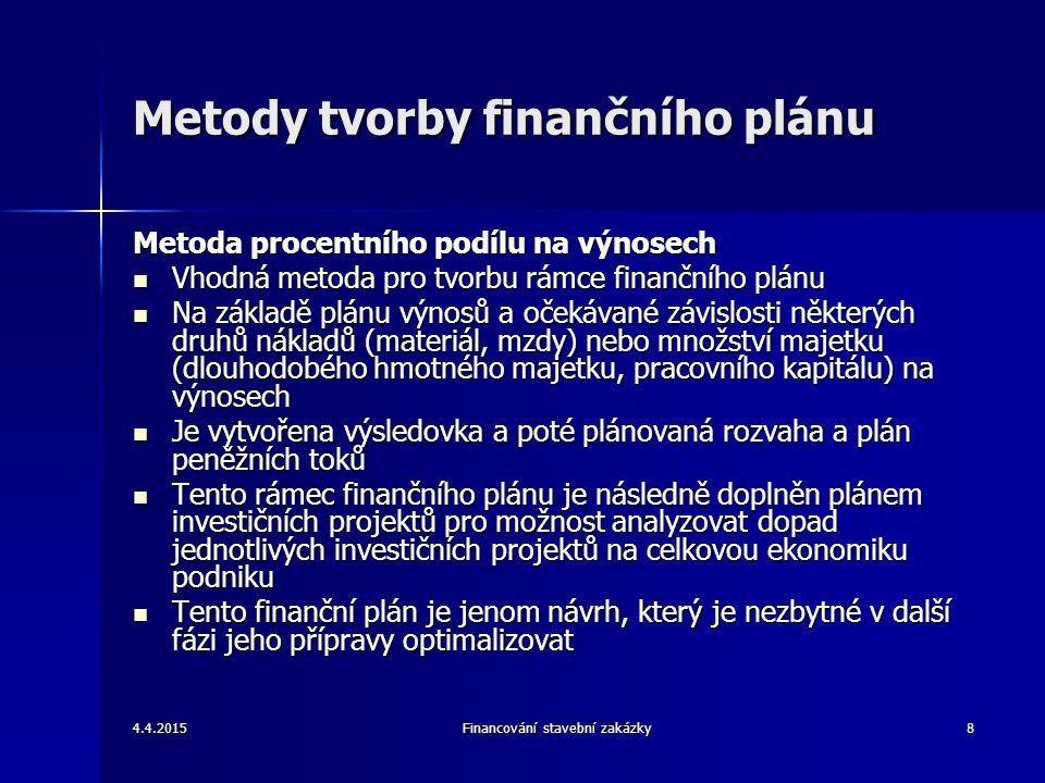 4.4.2015Financování stavební zakázky9 Krátkodobý finanční plán Krátkodobý finanční plán vzniká specifikací záměrů pro daný rok Krátkodobý finanční plán vzniká specifikací záměrů pro daný rok Navazuje na očekávanou situaci v běžném roce, je založen na dlouhodobém finančním plánu Navazuje na očekávanou situaci v běžném roce, je založen na dlouhodobém finančním plánu Externí podmínky je možno předpovídat jenom pro krátký časový úsek, při předpovědi na jeden rok je riziko výskytu chyby vcelku nízké Externí podmínky je možno předpovídat jenom pro krátký časový úsek, při předpovědi na jeden rok je riziko výskytu chyby vcelku nízké Roční finanční plán je možné tvořit v následujících krocích: Roční finanční plán je možné tvořit v následujících krocích: –Tvorba plánované výsledovky (založena na plánu výnosů, nákladů a zisku) –Tvorba plánu peněžních toků (vychází z výsledovky za běžnou podnikovou činnost, z rozpočtu investičních výdajů v investiční činnosti a z plánu financování) –Tvorba plánované rozvahy (reaguje na růst či pokles množství majetku a zdrojů krytí) –Naplňování plánu (za měsíc nebo čtvrtletí je kontrolováno s pomocí informací z účetního systému