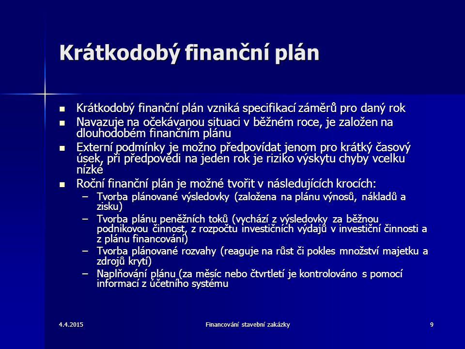 4.4.2015Financování stavební zakázky10 Plán výnosů, nákladů a zisku Cílem ročního finančního plánu je relevantní odhad výnosů Cílem ročního finančního plánu je relevantní odhad výnosů Vývoj výnosů je ovlivněn změnami ve struktuře stavebních zakázek, změnami cen, očekávaným vývojem poptávky apod.