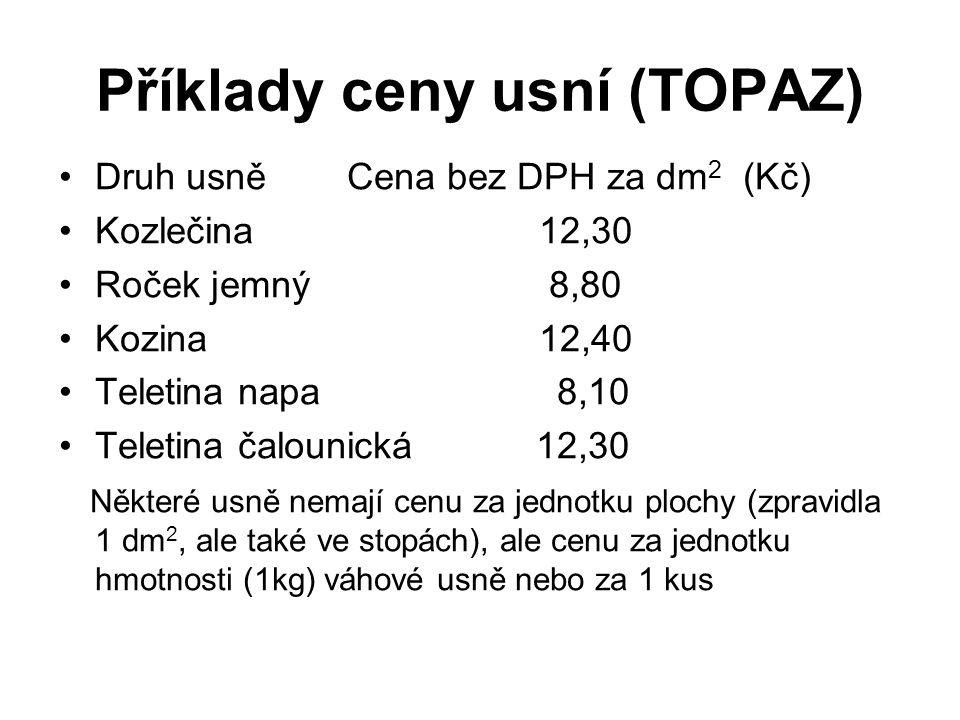 Příklady ceny usní (TOPAZ) Druh usně Cena bez DPH za dm 2 (Kč) Kozlečina 12,30 Roček jemný 8,80 Kozina 12,40 Teletina napa 8,10 Teletina čalounická 12