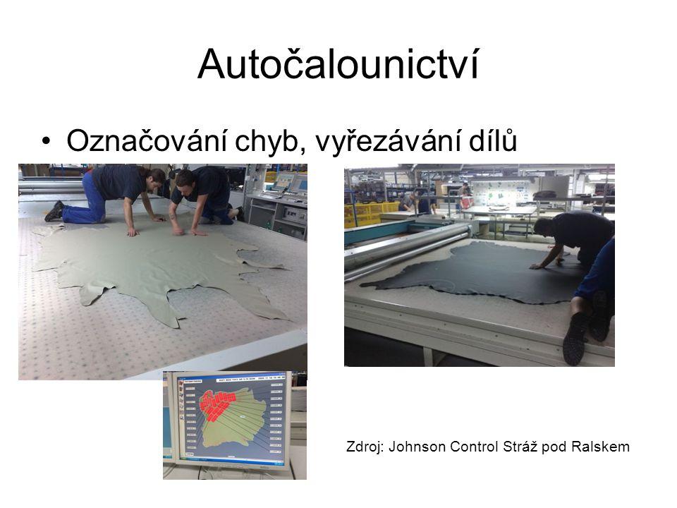Autočalounictví Označování chyb, vyřezávání dílů Zdroj: Johnson Control Stráž pod Ralskem