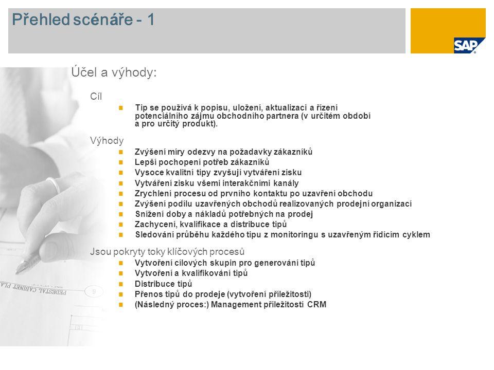 Přehled sc é n á ře - 2 Nutn é jsou SAP CRM 7.0 Role podniku zapojen é do toku procesů Pracovník marketingu Pracovník odbytu Manažer marketingu Požadované aplikace SAP :