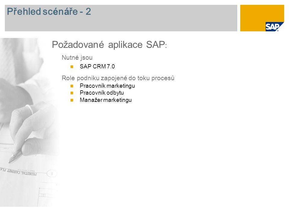 Přehled sc é n á ře - 2 Nutn é jsou SAP CRM 7.0 Role podniku zapojen é do toku procesů Pracovník marketingu Pracovník odbytu Manažer marketingu Požado