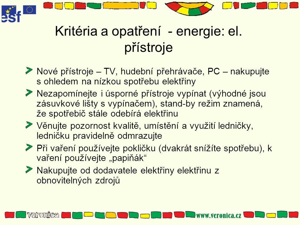 Kritéria a opatření - energie: el.