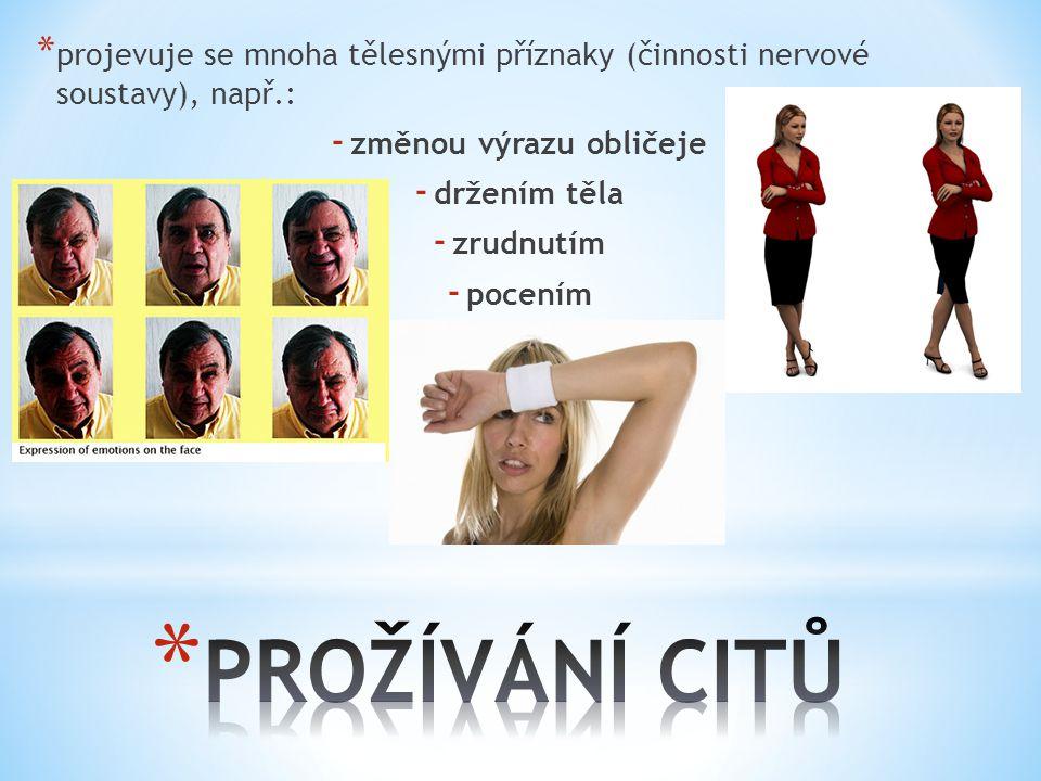 * projevuje se mnoha tělesnými příznaky (činnosti nervové soustavy), např.: - změnou výrazu obličeje - držením těla - zrudnutím - pocením