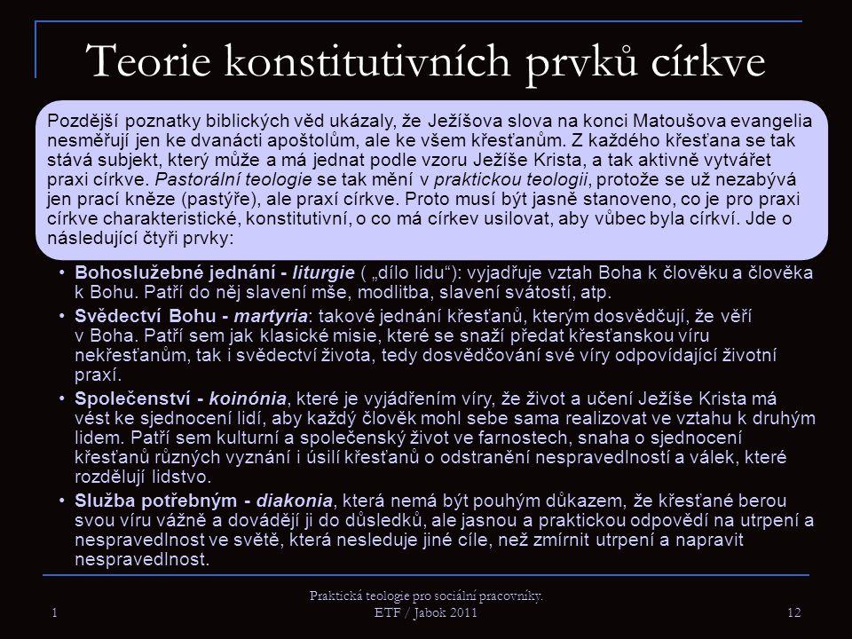 1 Praktická teologie pro sociální pracovníky. ETF / Jabok 2011 12 Teorie konstitutivních prvků církve Pozdější poznatky biblických věd ukázaly, že Jež
