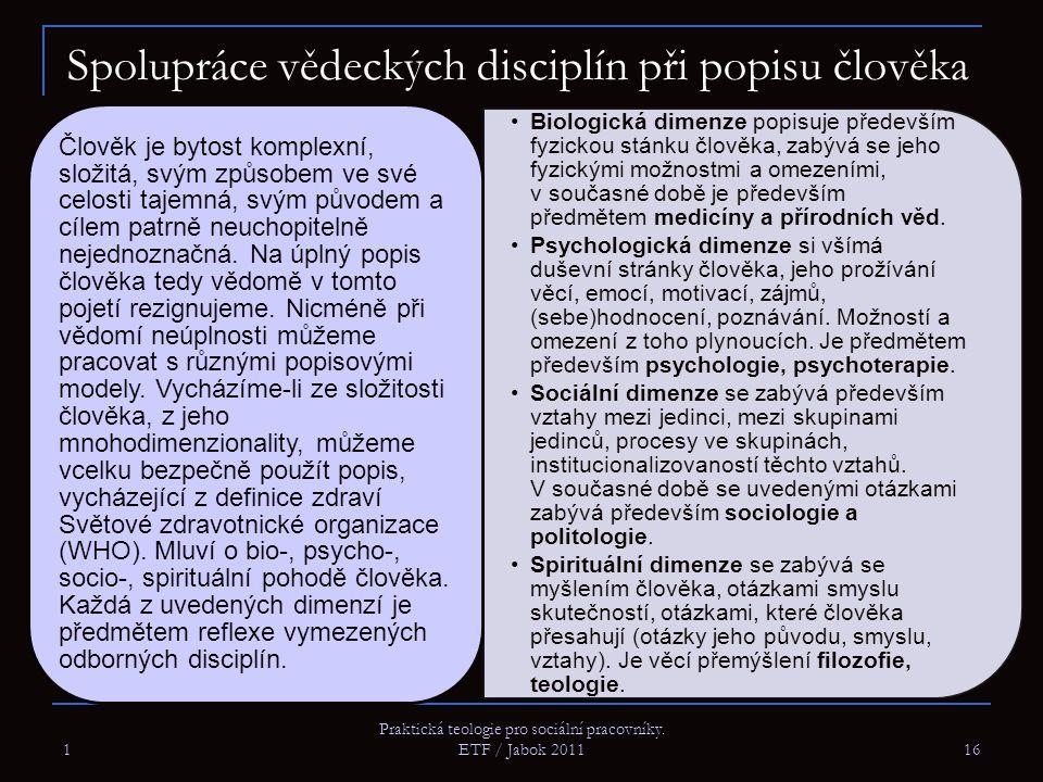 1 Praktická teologie pro sociální pracovníky. ETF / Jabok 2011 16 Spolupráce vědeckých disciplín při popisu člověka Biologická dimenze popisuje předev