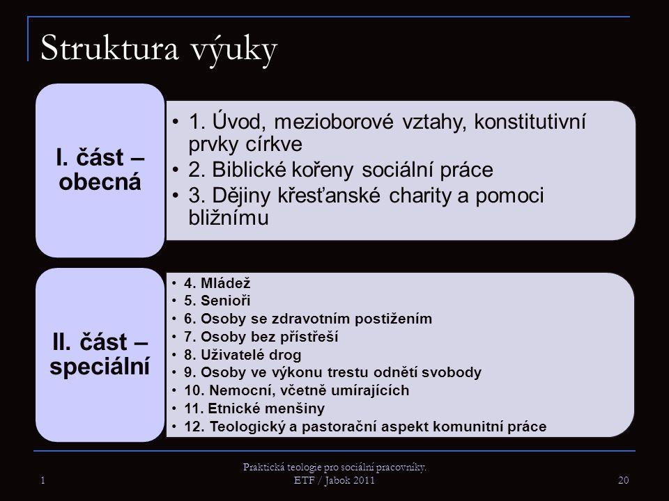 1 Praktická teologie pro sociální pracovníky. ETF / Jabok 2011 20 Struktura výuky 1. Úvod, mezioborové vztahy, konstitutivní prvky církve 2. Biblické