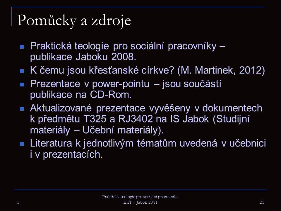 1 Praktická teologie pro sociální pracovníky. ETF / Jabok 2011 21 Pomůcky a zdroje Praktická teologie pro sociální pracovníky – publikace Jaboku 2008.