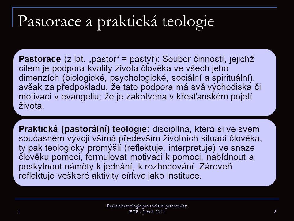 """1 Praktická teologie pro sociální pracovníky. ETF / Jabok 2011 8 Pastorace a praktická teologie Pastorace (z lat. """"pastor"""" = pastýř): Soubor činností,"""