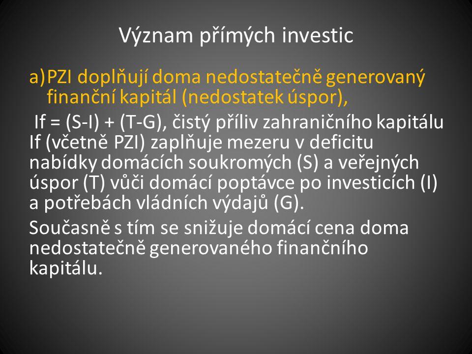 Význam přímých investic a)PZI doplňují doma nedostatečně generovaný finanční kapitál (nedostatek úspor), If = (S-I) + (T-G), čistý příliv zahraničního