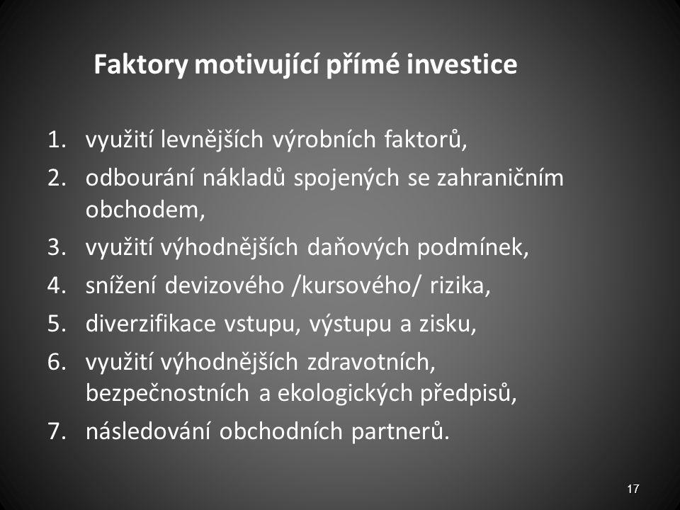 Faktory motivující přímé investice 1.využití levnějších výrobních faktorů, 2.odbourání nákladů spojených se zahraničním obchodem, 3.využití výhodnější