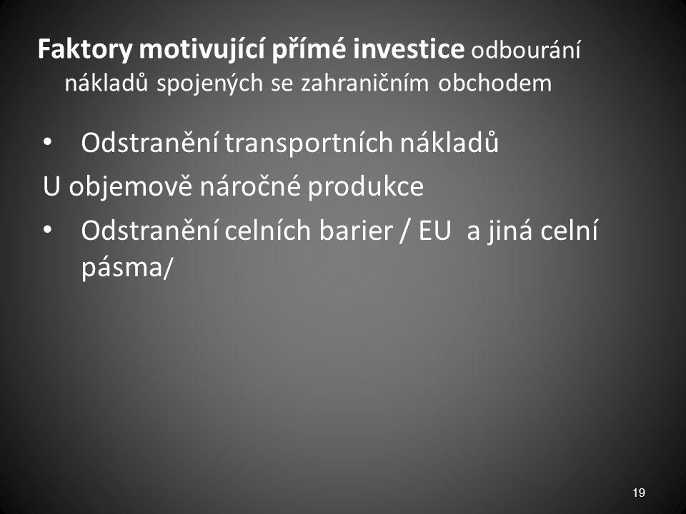 Faktory motivující přímé investice odbourání nákladů spojených se zahraničním obchodem Odstranění transportních nákladů U objemově náročné produkce Od