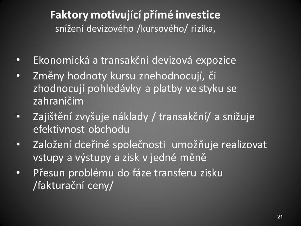 Faktory motivující přímé investice snížení devizového /kursového/ rizika, Ekonomická a transakční devizová expozice Změny hodnoty kursu znehodnocují,