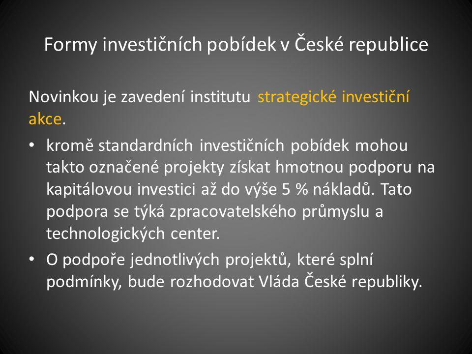 Formy investičních pobídek v České republice Novinkou je zavedení institutu strategické investiční akce. kromě standardních investičních pobídek mohou