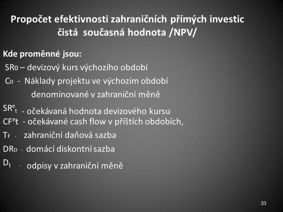 Propočet efektivnosti zahraničních přímých investic čistá současná hodnota /NPV/ Kde proměnné jsou: SR 0 – devizový kurs výchozího období C 0 - Náklad