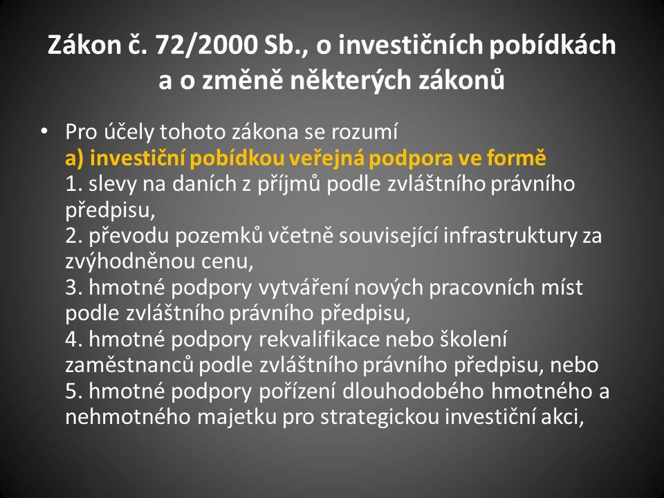 Zákon č. 72/2000 Sb., o investičních pobídkách a o změně některých zákonů Pro účely tohoto zákona se rozumí a) investiční pobídkou veřejná podpora ve