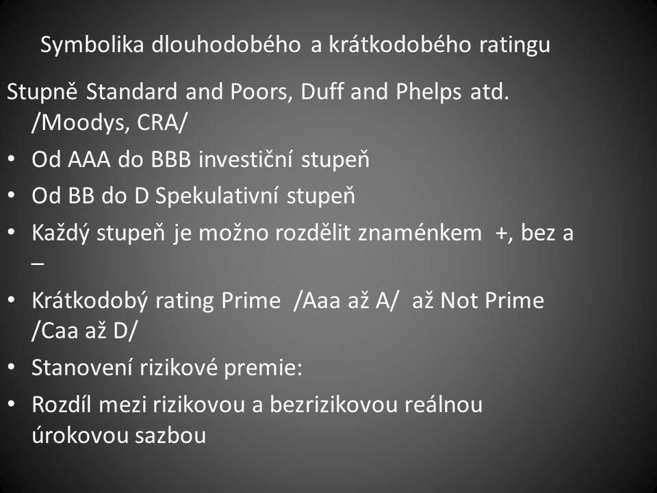 Symbolika dlouhodobého a krátkodobého ratingu Stupně Standard and Poors, Duff and Phelps atd. /Moodys, CRA/ Od AAA do BBB investiční stupeň Od BB do D