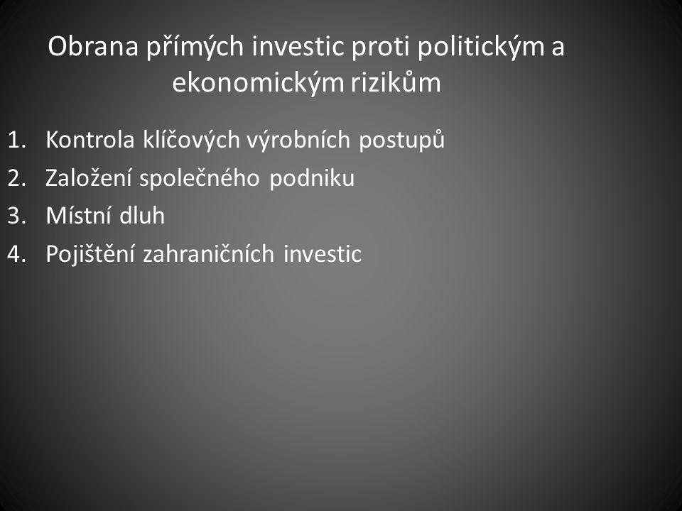 Obrana přímých investic proti politickým a ekonomickým rizikům 1.Kontrola klíčových výrobních postupů 2.Založení společného podniku 3.Místní dluh 4.Po