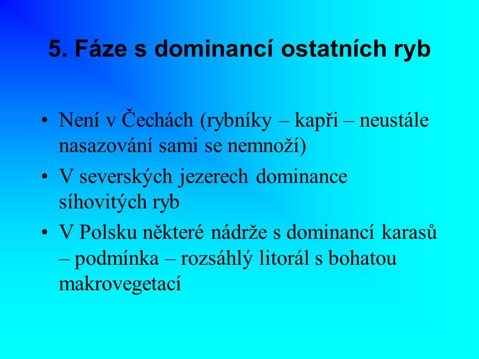 5. Fáze s dominancí ostatních ryb Není v Čechách (rybníky – kapři – neustále nasazování sami se nemnoží) V severských jezerech dominance síhovitých ry