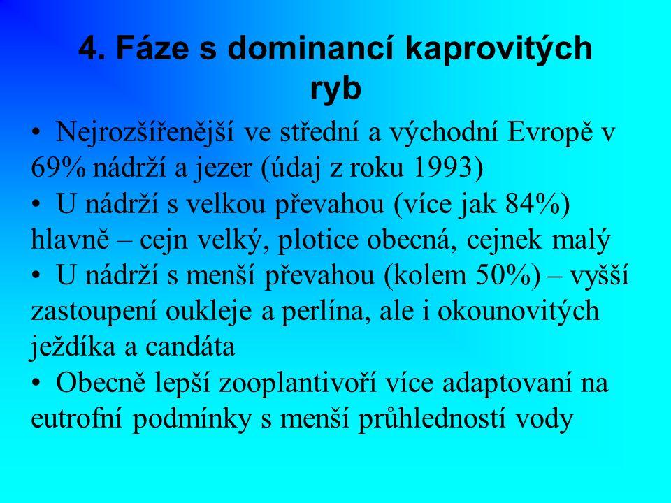 4. Fáze s dominancí kaprovitých ryb Nejrozšířenější ve střední a východní Evropě v 69% nádrží a jezer (údaj z roku 1993) U nádrží s velkou převahou (v
