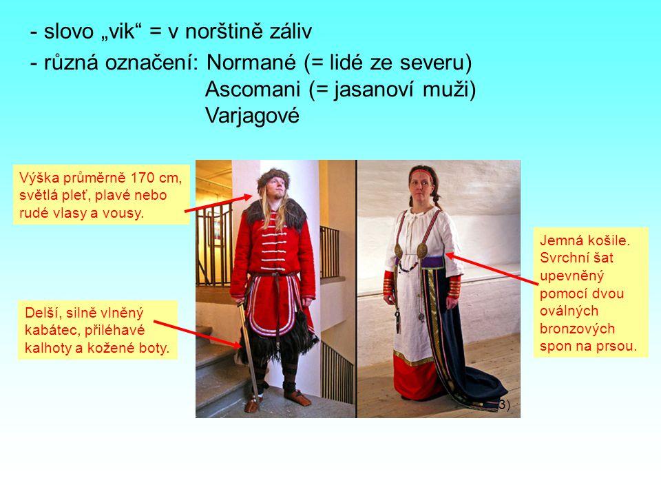 """- slovo """"vik = v norštině záliv - různá označení: Normané (= lidé ze severu) Ascomani (= jasanoví muži) Varjagové 3) Výška průměrně 170 cm, světlá pleť, plavé nebo rudé vlasy a vousy."""