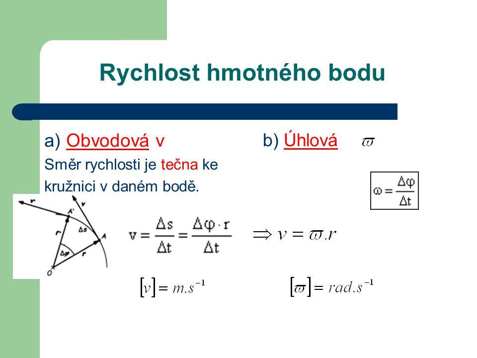 Rychlost hmotného bodu a) Obvodová v Směr rychlosti je tečna ke kružnici v daném bodě. b) Úhlová