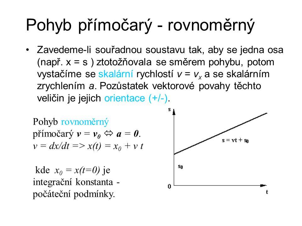 Pohyb přímočarý - rovnoměrný Zavedeme-li souřadnou soustavu tak, aby se jedna osa (např. x = s ) ztotožňovala se směrem pohybu, potom vystačíme se ska