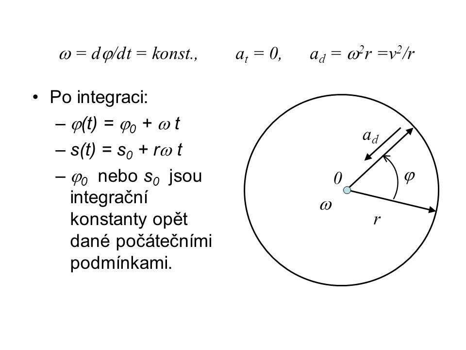 Po integraci: –  (t) =  0 +  t –s(t) = s 0 + r  t –  0 nebo s 0 jsou integrační konstanty opět dané počátečními podmínkami.  = d  /dt = konst.,