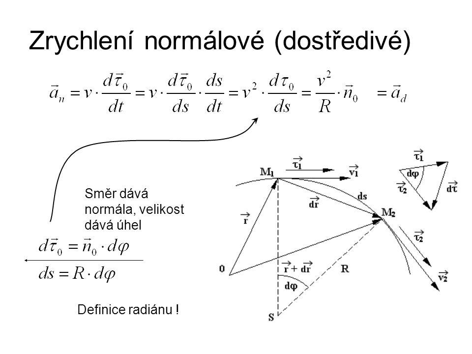 Zrychlení normálové (dostředivé) Definice radiánu ! Směr dává normála, velikost dává úhel